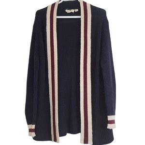 Retrod Blue,White and Red Knit Cardigan Sm…